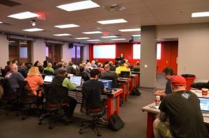 Kitty Lusby addressing the WP Vegas WordPress Meetup Group in Las Vegas, Nevada